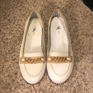 White and gold Liz Clairborne flats-10